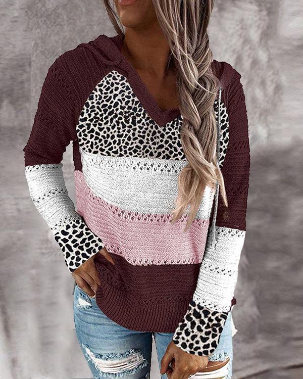 Long Sleeve V Neck Cotton-Blend Leopard Hooded Sweater