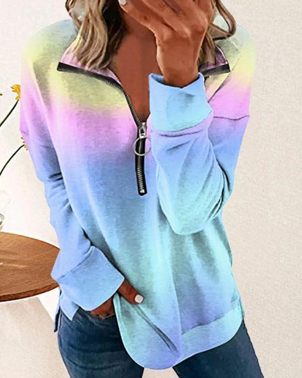 Autumn Fashion Tie Dye Print Long-sleeved Zipper Tops