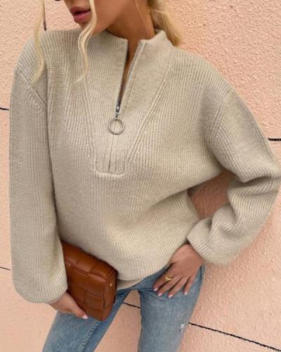 Zipper Knitted V-Neck Sweater Pullover