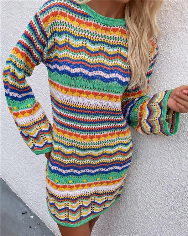 Knit sweater women rainbow striped pullover mid-length women's sweater