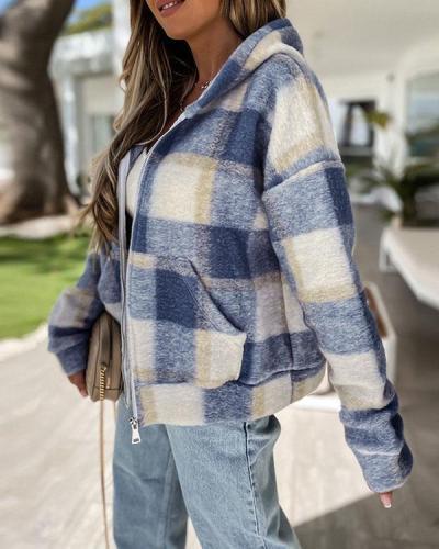 Fleece Woolen Zipper Hooded Plaid Jacket with Pockets