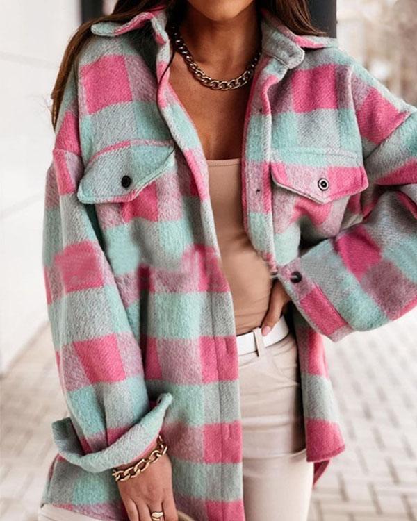 Women Lapel Long-sleeved Plaid Woolen Shirt Jacket