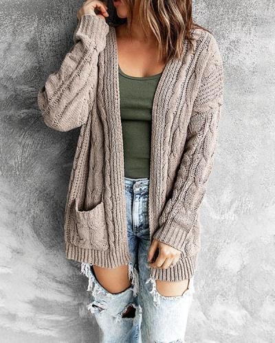 Cable Knit Cardigan With Long sleeves