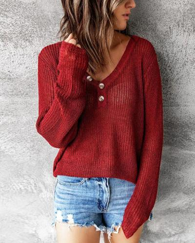 Solid Color V Neck Buttoned Knit Sweater
