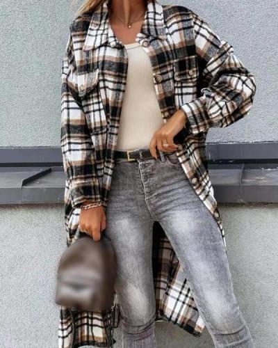 Plaid Long Sleeve Shirt Jacket Coat