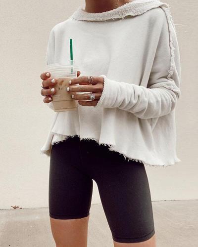 Solid Casual Irregular Fleece Cropped Sweatshirt