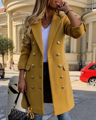 Double-Breasted Regular Button Slim Winter Women's Overcoat