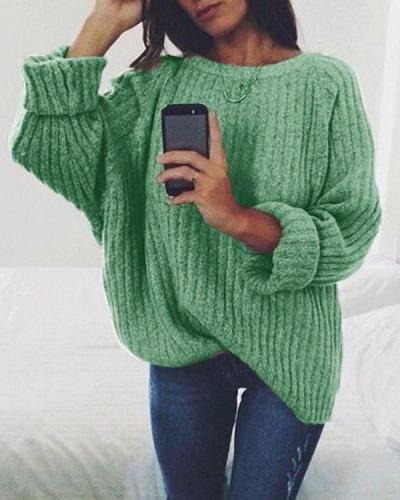 Fashion Solid Color Round Neck Knitted Sweater