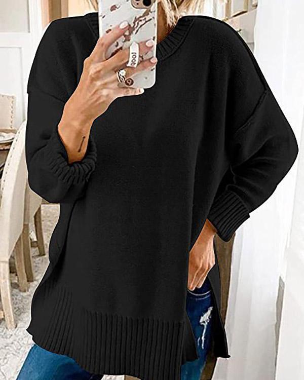 Round Neck Long Sleeve Side Slit Loose Sweater