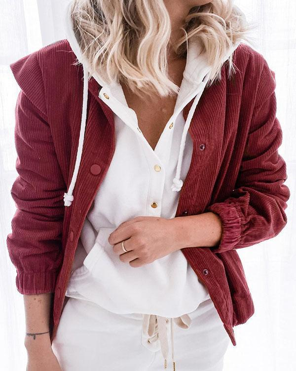 Patchwork Casual Loose Corduroy Cardigans