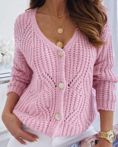 Candy Color Hollow Crochet Sweet Sexy Sweater Cardigan
