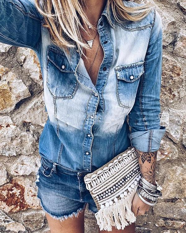 Ombre Washed Denim Distressed Denim Shirt with Pockets