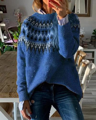 Round Neck Loose Pullover Knitted Sweater