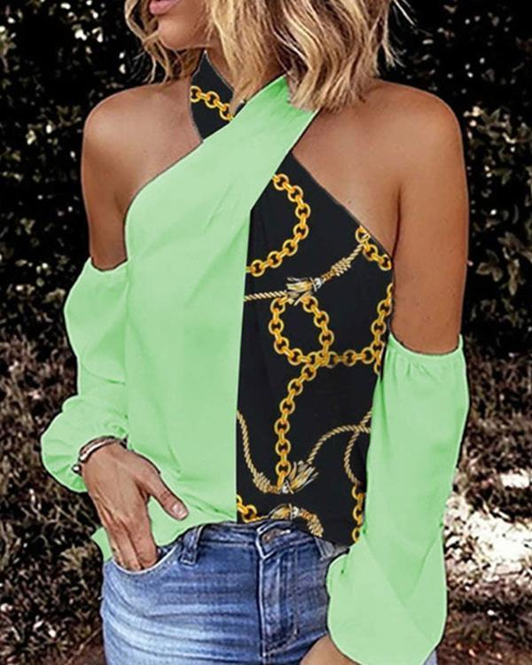 Women's Casual Strapless Hanging Neck T-Shirts