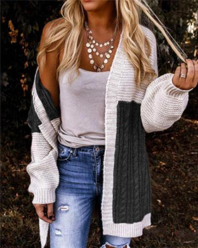 Knit Cardigan Gradient Color Sweater Jacket