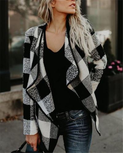 Retro Fashion Plaid Lapel Jacket Top