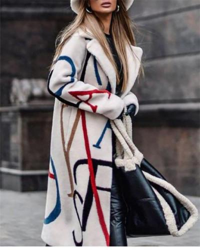 Printed Trench Coat with Lapel Coat