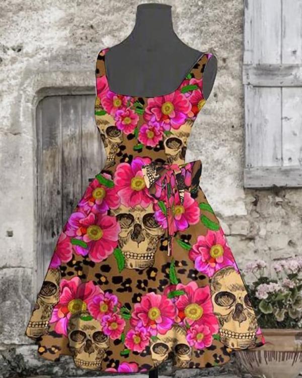 Halloween Women Skull Printed Evening Party Mini Dress