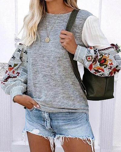 Round Neck Long-sleeved Print Patchwork Sweatshirt