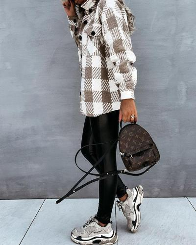 Casual Plaid/Houndstooth Coat with Pockets