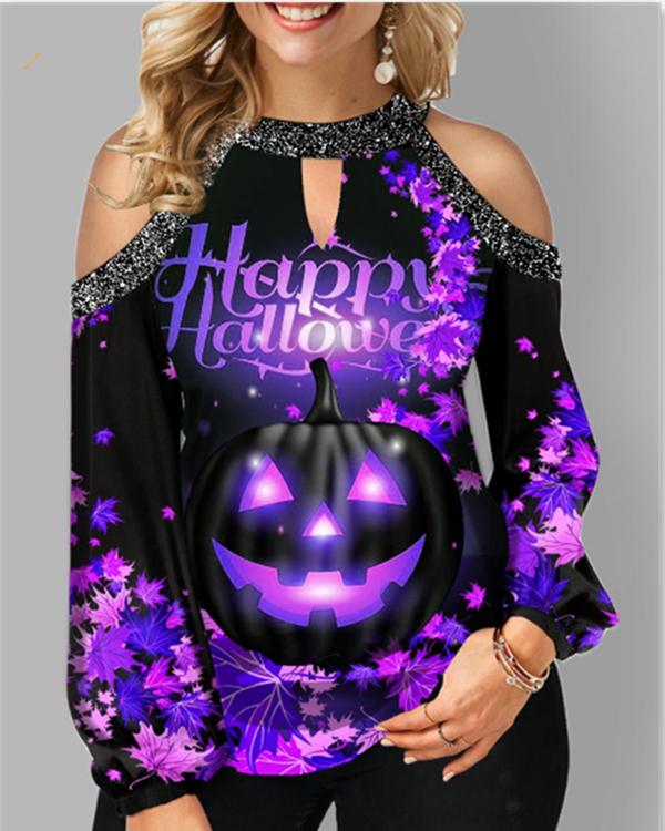 Halloween Pumpkin Off Shoulder Long Sleeve Tops