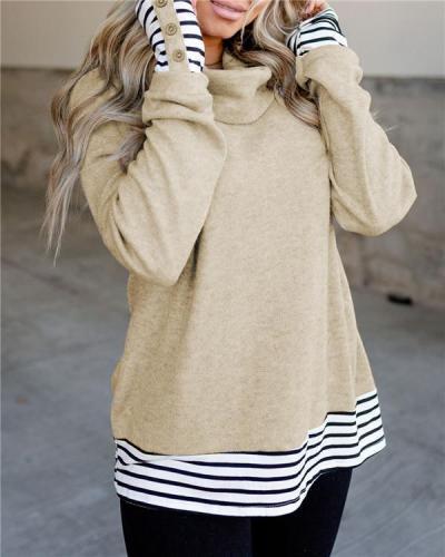 Breasted Stripe Stitching High Collar Imitation Cashmere Knit