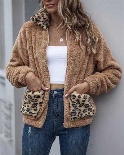 Autumn Lamb Wool Coat with Leopard Print Stitching