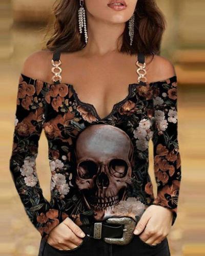 Halloween Cotton-Blend Long Sleeve Boho Shirts & Tops