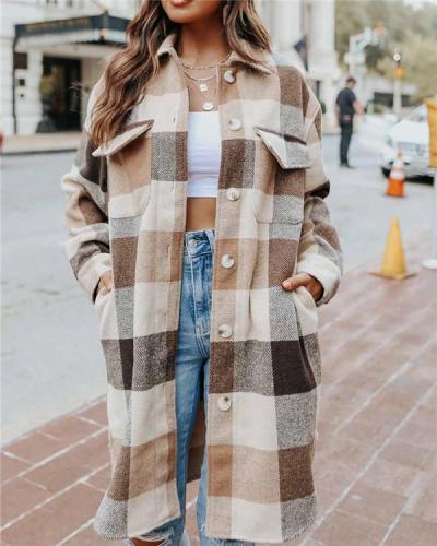 Loose women's plaid coat mid-length coat