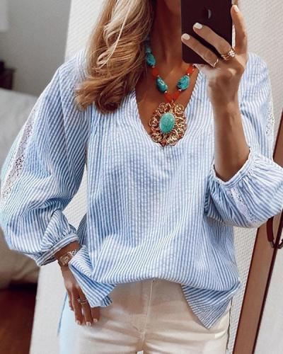 Women Striped Lace Patchwork Shirt
