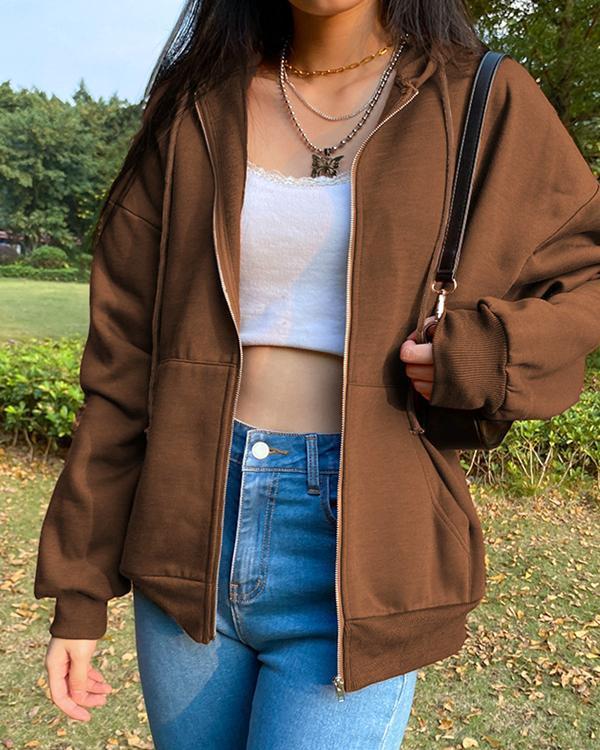 Women Zipper Pockets Hoodies
