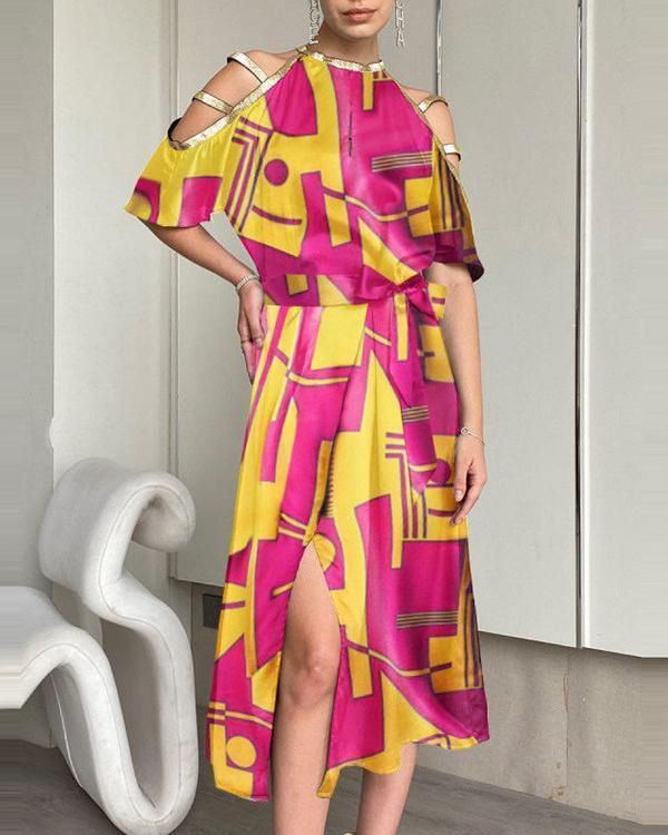 Fashion Leaf Print Off-shoulder Midi Dress
