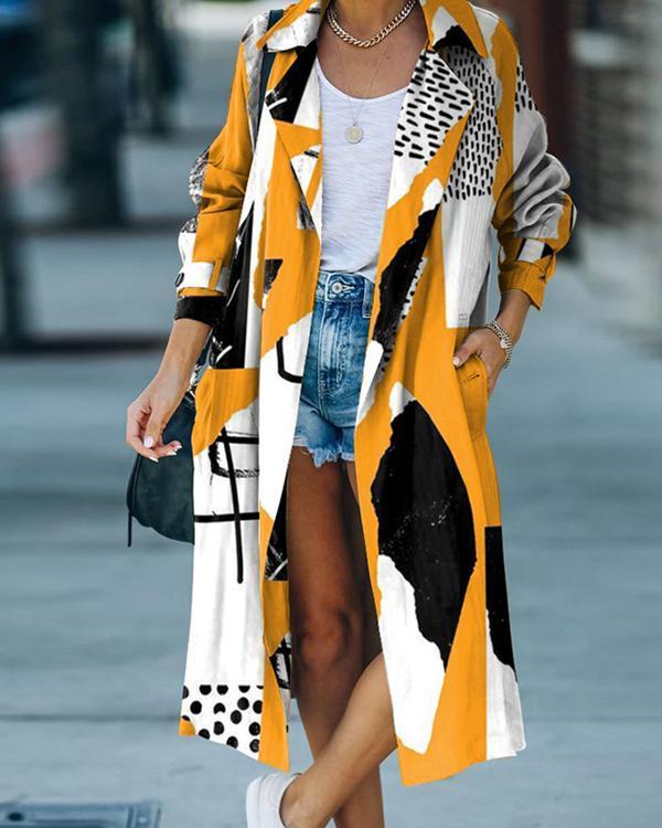 Long-sleeve Print Calf-length Loose Fit Overcoat