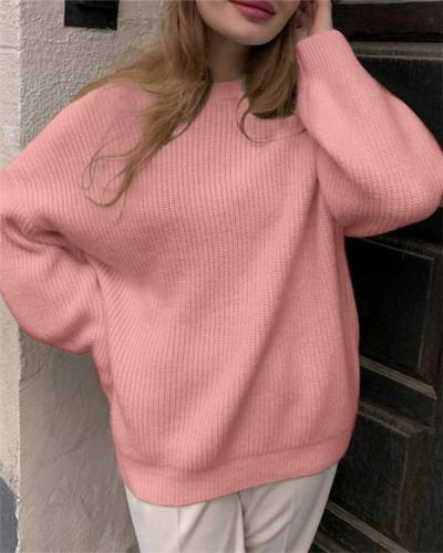 Round Neck Solid Color Thick Knit Sweater