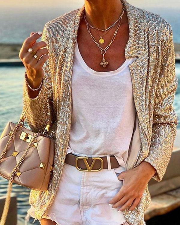Autumn Long Sleeve Solid Color Sequin Slim Blazer