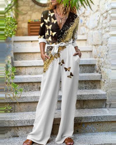 Fashion Long-Sleeve Leaf Print Jumpsuit