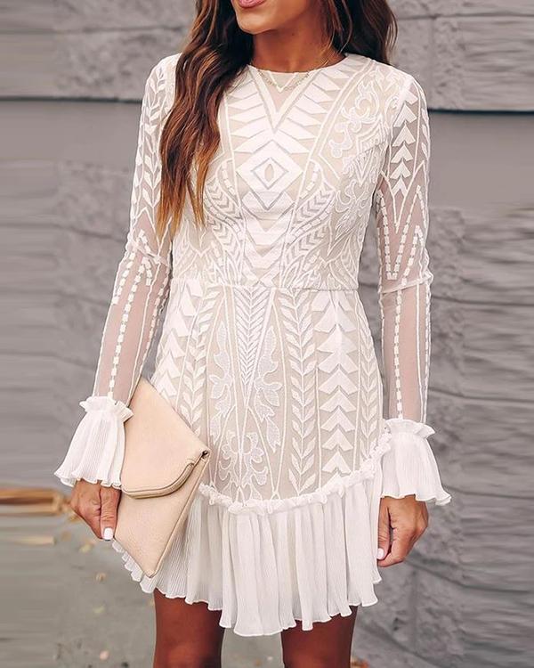 Lace Pleated Ruffle Dress