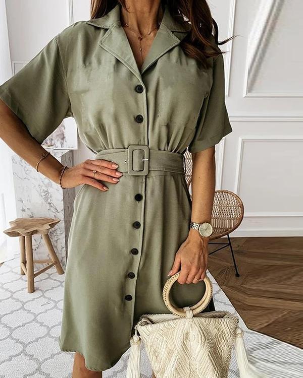 Lapel A-line Dress(With Belt)