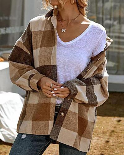 Casual Loose Lapel Shirt Plaid Coat