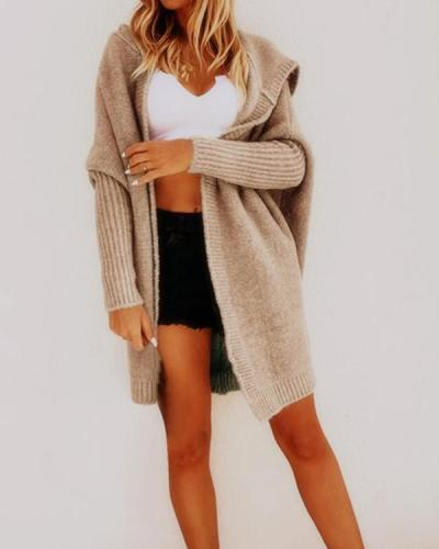 Solid Casual Oversize Hooded Cardigan