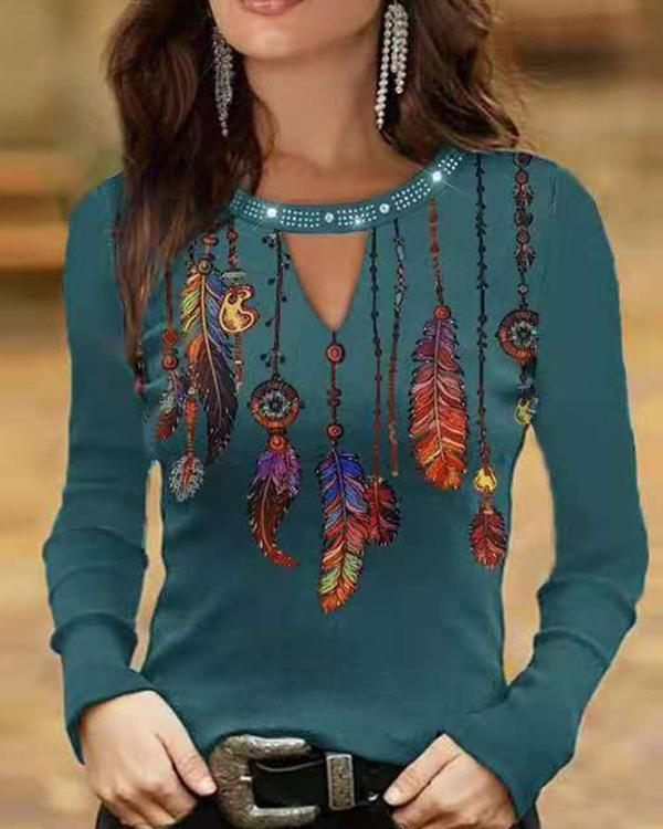 Feather Print Long-sleeved Tops