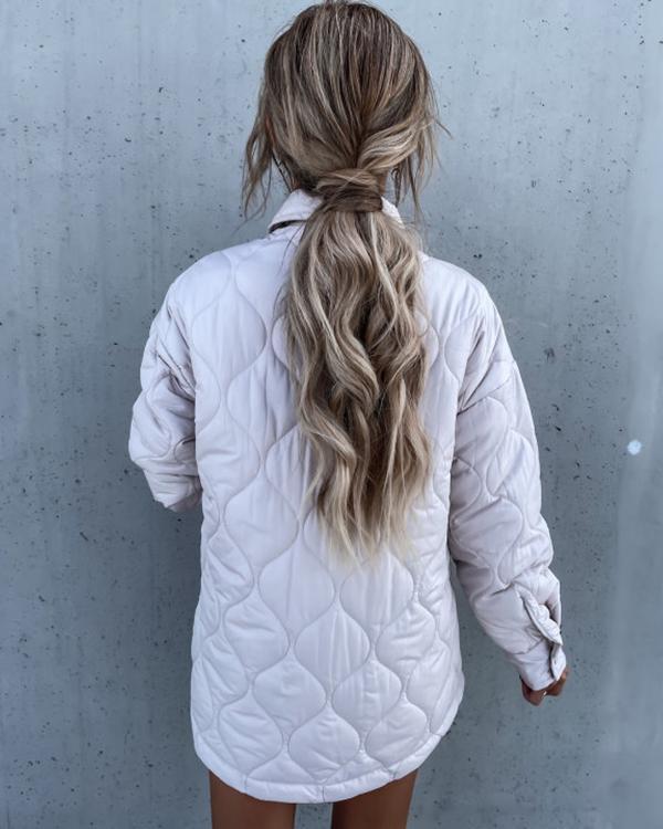 Check Trend Lapel Single-breasted Cotton Coat
