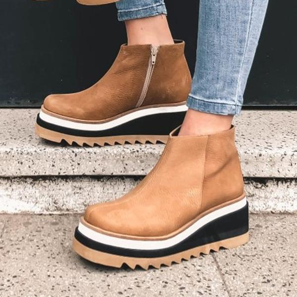 Faux Leather Side Closure Wedge Platform Boots