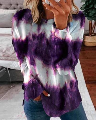 Cotton-Blend Long Sleeve Dip-Dyed Casual Shirts & Tops