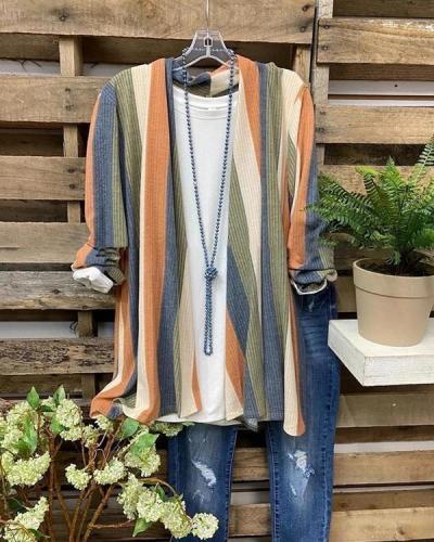 Striped Long Sleeve Jacket Cardigan