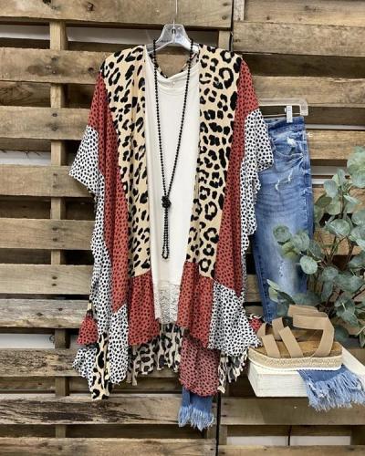 Autumn Fashion Leopard Print Short Sleeve Cardigan