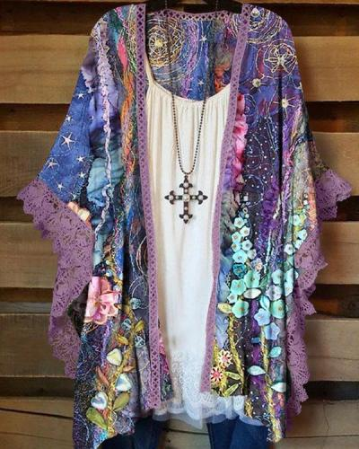 Women's Print Lace Sleeves Casual Cardigan