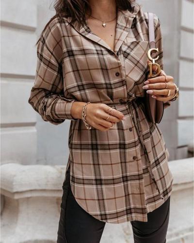 Grid Button Long Sleeve Shirt