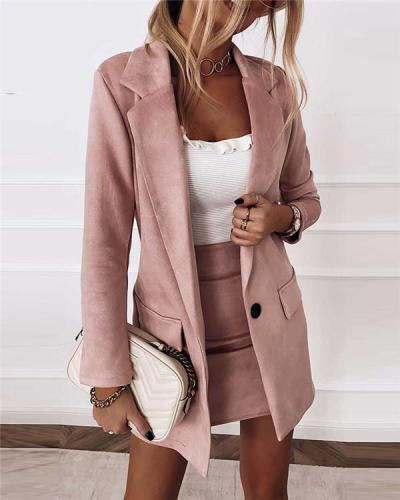 Slim-fit long-sleeved suit dress