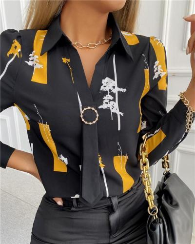 V-neck Button Printed Shirt Shirt